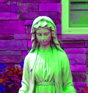 Our lady of the lawn saturate