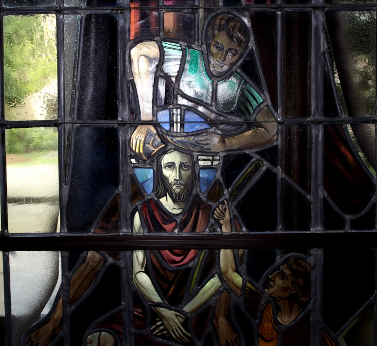 Stained glass Jesus shorn